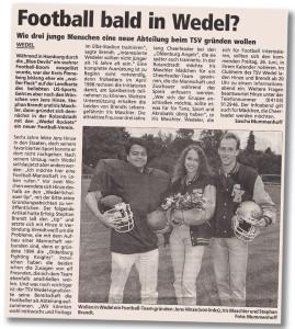 Bericht über die geplante Gründung eines American-Football-Teams in Wedel