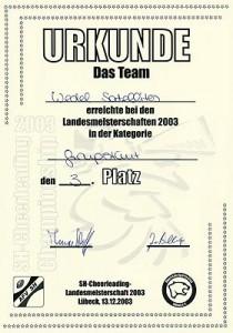 Urkunde des Wedel Satellites Groupstunts für den 3. Platz bei dem LM 2003
