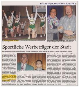 Artikel zum Auftritt bei der Pinneberger Sportlerehrung 2012 im Pinneberger Tageblatt vom 14.05.2012