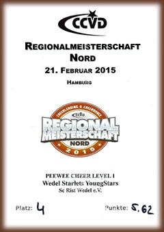 RM Nord 2015 - Urkunde der Wedel Starlets YoungStars (Platz 4)